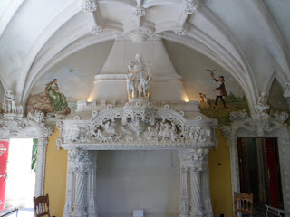Ornate fireplace, Quinta da Regaleira, Sintra Portugal