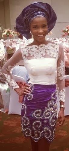 Photos of Agbani in traditional attire at Daisy Danjuma son's wedding