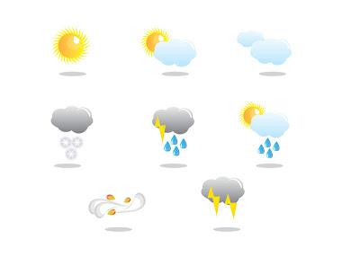 Hava durumu simgeleri vektörel hava durumu sembolleri