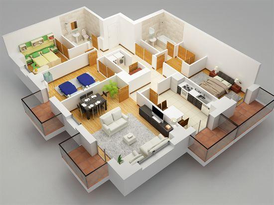 Planos de vivienda inmobiliaria casaflor for Maquetas de apartamentos modernos
