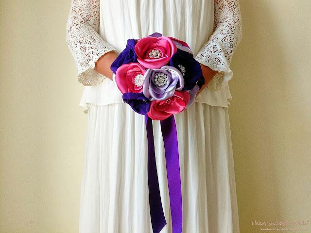 bouquets em tecido rosa, roxo, lilás