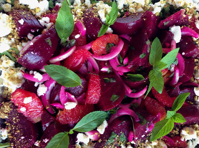 KPK Roasted Beet Salad with Orange, Fresh Mint, Feta and Pistachios