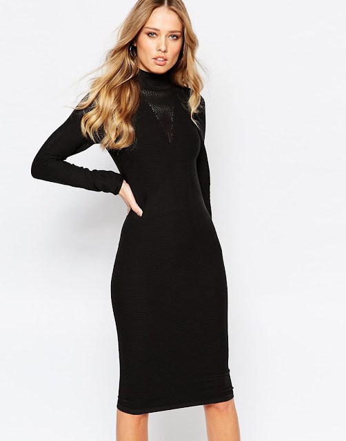 y.a.s black high neck dress, funnel neck long sleeve black dress,