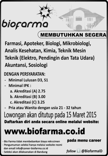 Lowongan Kerja PT Bio Farma Maret 2015
