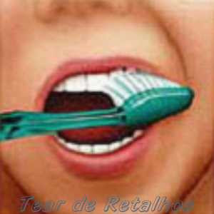 Escovando a face externa dos dentes superiores.