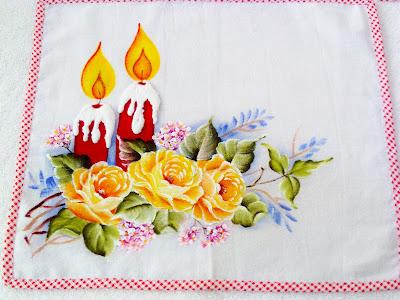 """pintura tecido velas e rosas natal"""