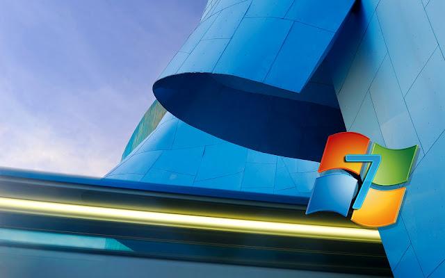 Blauwe Windows 7 achtergrond met logo en 3D gebouw