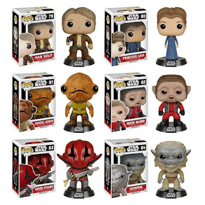 Star Wars: The Force Awakens Pop! Series 2 Vinyl Figures by Funko - Han Solo, Princess Leia, Admiral Ackbar, Nien Nunb, Sidon Ithano & Varmik