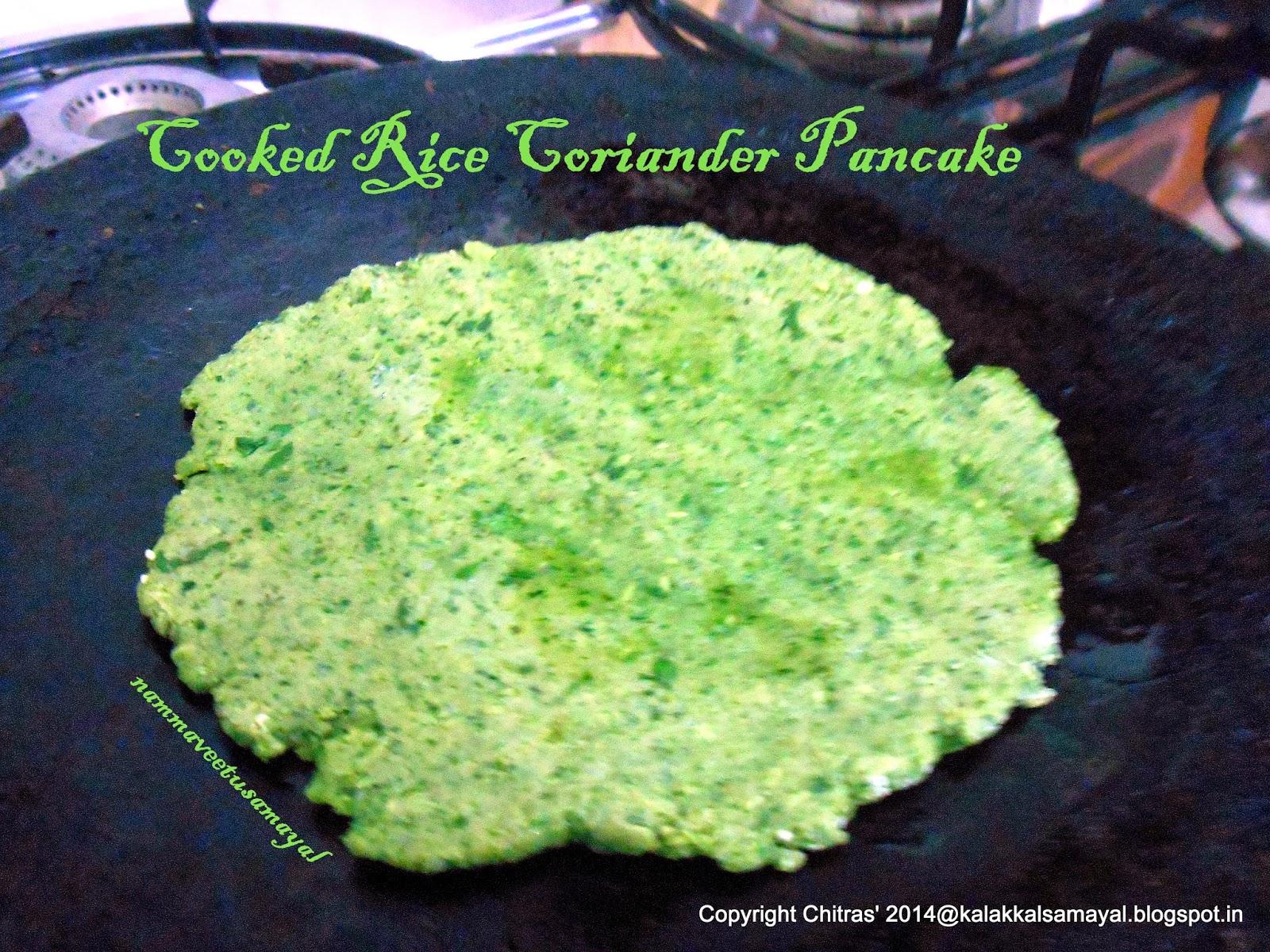 Cooked Rice Coriander Pancake