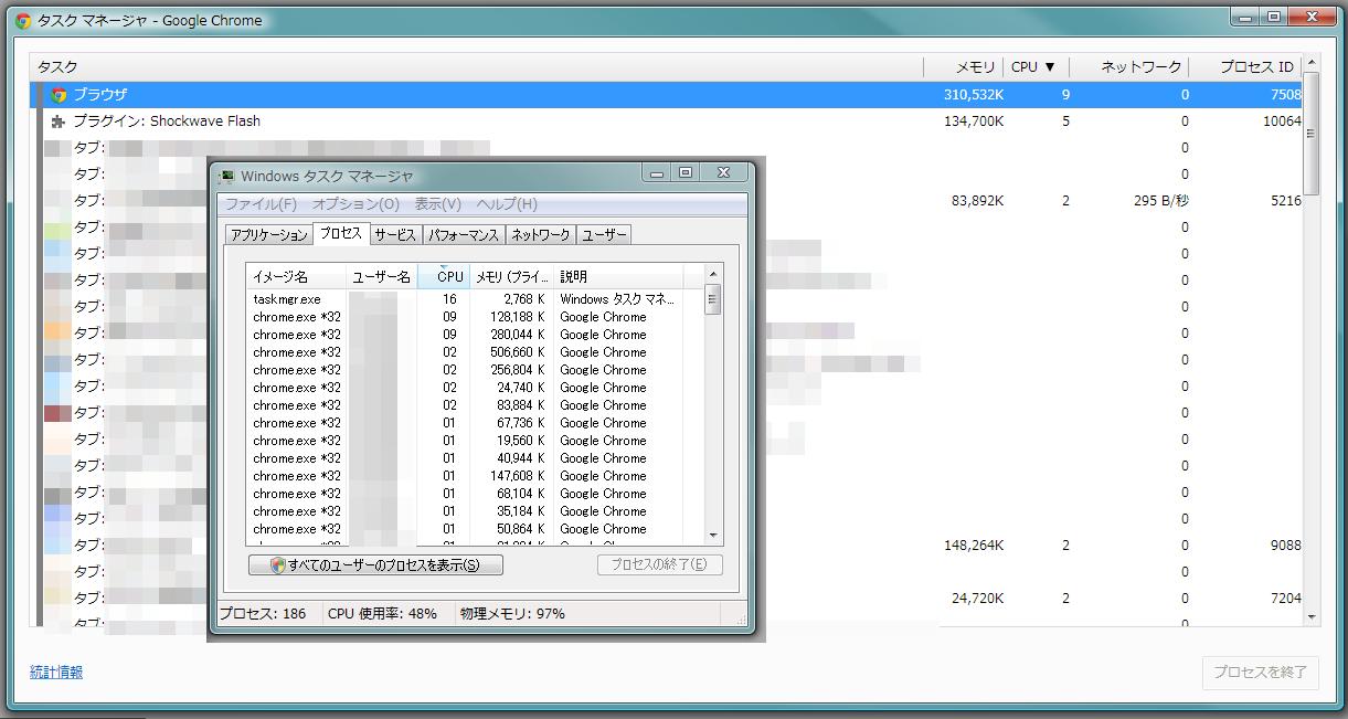 Chrome のタスクマネージャで CPU 使用率の高いタスクを特定し、 そのタスクが表示しているタブを閉じることでパソコン全体の CPU 使用率を下げる  CPU 使用率の高いタスクが表示しているタブを閉じた後  「CPU 使用率の高いタスクが表示しているタブを閉じる前」のパソコン全体の CPU 使用率よりも 大幅に CPU 使用率が低下している