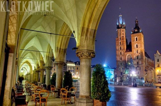 Kraków: sukiennice i kościół Mariacki