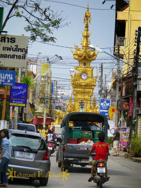 North Thailand - Golden Clock Tower in Chiang Rai