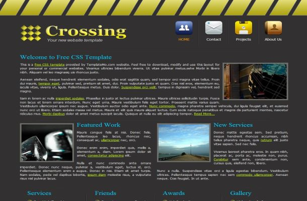 Dark Grey Yellow Business CSS Website Template