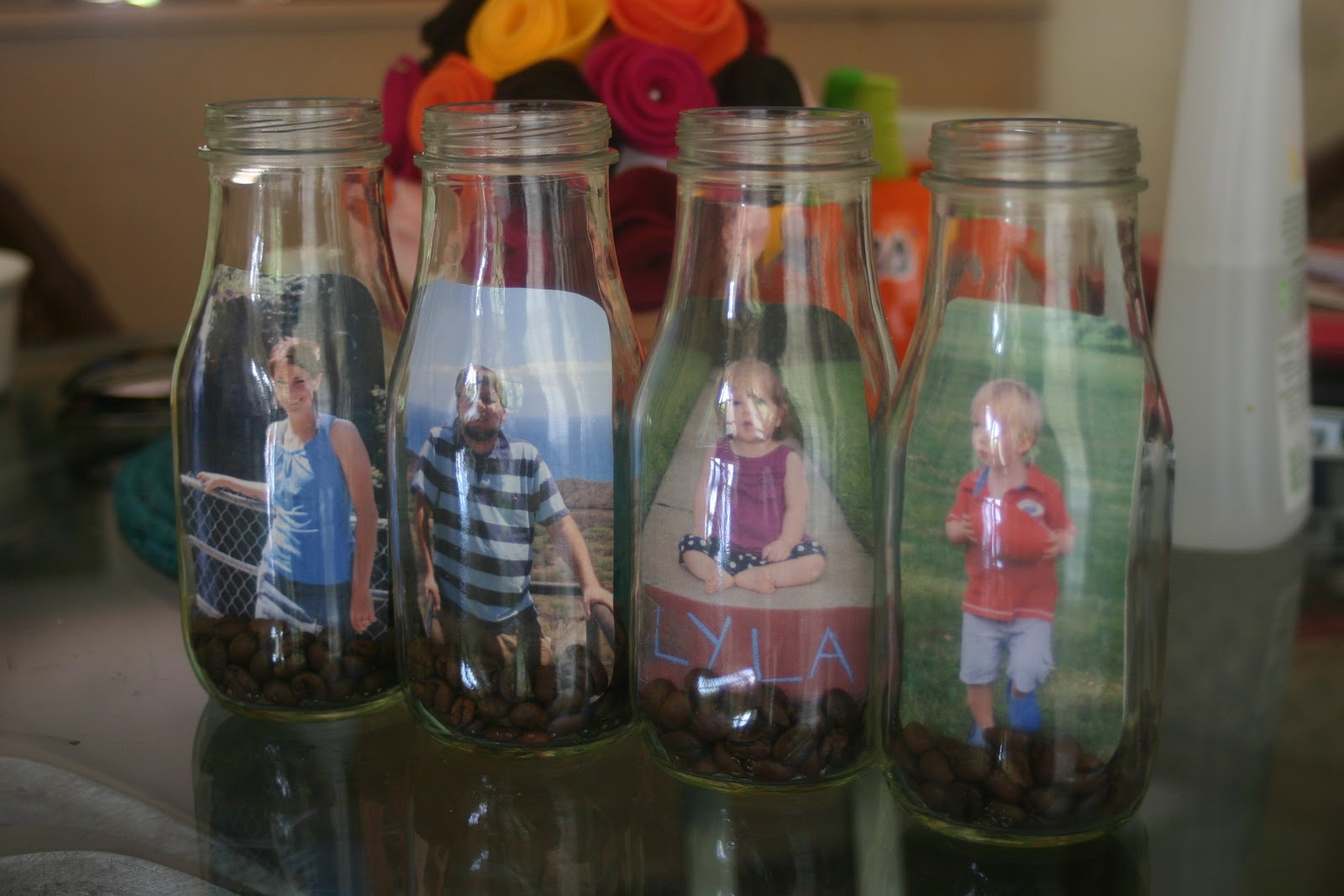 Lines across glass bottle picture frames for Glass bottle crafts to make