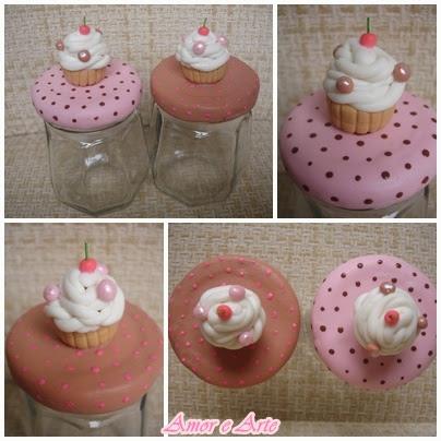 Vidro decorado em biscuit, cupcakes