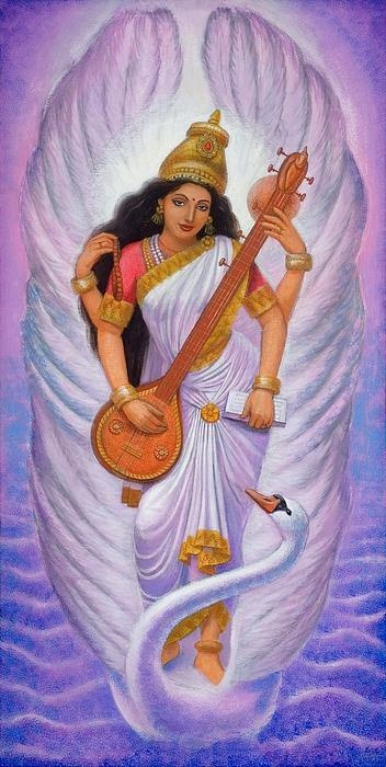 "Goddess Saraswati devi Saraswati: Goddess of Knowledge & Arts  Saraswati, the goddess of knowledge and arts, represents the free flow of wisdom and consciousness. She is the mother of the Vedas, and chants to her, called the 'Saraswati Vandana' often begin and end Vedic lessons.  Saraswati is the daughter of Lord Shiva and Goddess Durga. It is believed that goddess Saraswati endows human beings with the powers of speech, wisdom and learning. She has four hands representing four aspects of human personality in learning: mind, intellect, alertness and ego. She has sacred scriptures in one hand and a lotus – the symbol of true knowledge – in the second.  With her other two hands she plays the music of love and life on a string instrument called the veena. She is dressed in white – the symbol of purity – and rides on a white swan – symbolizing Sattwa Guna or purity and discrimination. Saraswati is also a prominent figure in Buddhist iconography - the consort of Manjushri.  The learned and the erudite attach greater importance to the worship of goddess Saraswati. As a practice, only educated people worship her for knowledge and wisdom. They believe that only Saraswati can grant them 'moksha' - the final liberation of the soul.  Saraswati's birthday - Vasant Panchami - is a Hindu festival celebrated every year on the 5th day of the bright fortnight of the lunar month of Magha. Hindus celebrate this festival with great fervor in temples, homes and educational institutes alike.   Read more about Vasant Panchami  The following popular 'pranam mantra' or Sanskrit prayer, Saraswati devotees utter with utmost devotion eulogizes the goddess of knowledge and arts: Om Saraswati Mahabhagey, Vidye Kamala Lochaney |Viswarupey Vishalakshmi, Vidyam Dehi Namohastutey ||Jaya Jaya Devi, Charachara Sharey, Kuchayuga Shobhita, Mukta Haarey |Vina Ranjita, Pustaka Hastey, Bhagavati Bharati Devi Namohastutey ||The beautiful human form of Saraswati comes to the fore in this English translation of the Saraswati hymn: ""May Goddess Saraswati, who is fair like the jasmine-colored moon, and whose pure white garland is like frosty dew drops; who is adorned in radiant white attire, on whose beautiful arm rests the veena, and whose throne is a white lotus; who is surrounded and respected by the Gods, protect me. May you fully remove my lethargy, sluggishness, and ignorance.""Goddess Saraswati Saraswati is the Hindu Goddess of learning and the arts. She is the daughter of Lord Shiva and Goddess Durga. Goddess Saraswati is first referred to in literature as the personification of the sacred river, the Saraswati, also known as Sarasvati, and is also identified with Vac, the goddess of speech. In later Hinduism Saraswati is usually considered the consort of the God Brahma (the promulgator of the Veda), but she enjoys an autonomous position as the patroness of art, music and letters. It is believed that Goddess Saraswati endows human beings with the powers of speech, wisdom and learning. The goddess has four hands representing four aspects of human personality in learning; mind, intellect, alertness and ego. The goddess has sacred scriptures in one hand, a lotus in the second hand, which is a symbol of true knowledge. With her other two hands, the goddess plays the music of love and life on a string instrument called Veena (violoin). Goddess Saraswati is dressed in white, which symbolizes purity and rides on a white swan that symbolises Sattwa Guna (purity) and discrimination. Goddess Saraswati is annually worshiped with great enthusiasm by Hindu students and teachers alike at the advent of spring, when the Hindu year occurs in January-February."