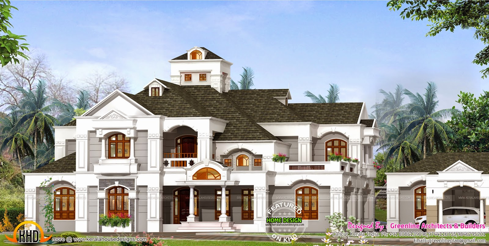 luxury house with outhouse kerala home design and floor plans