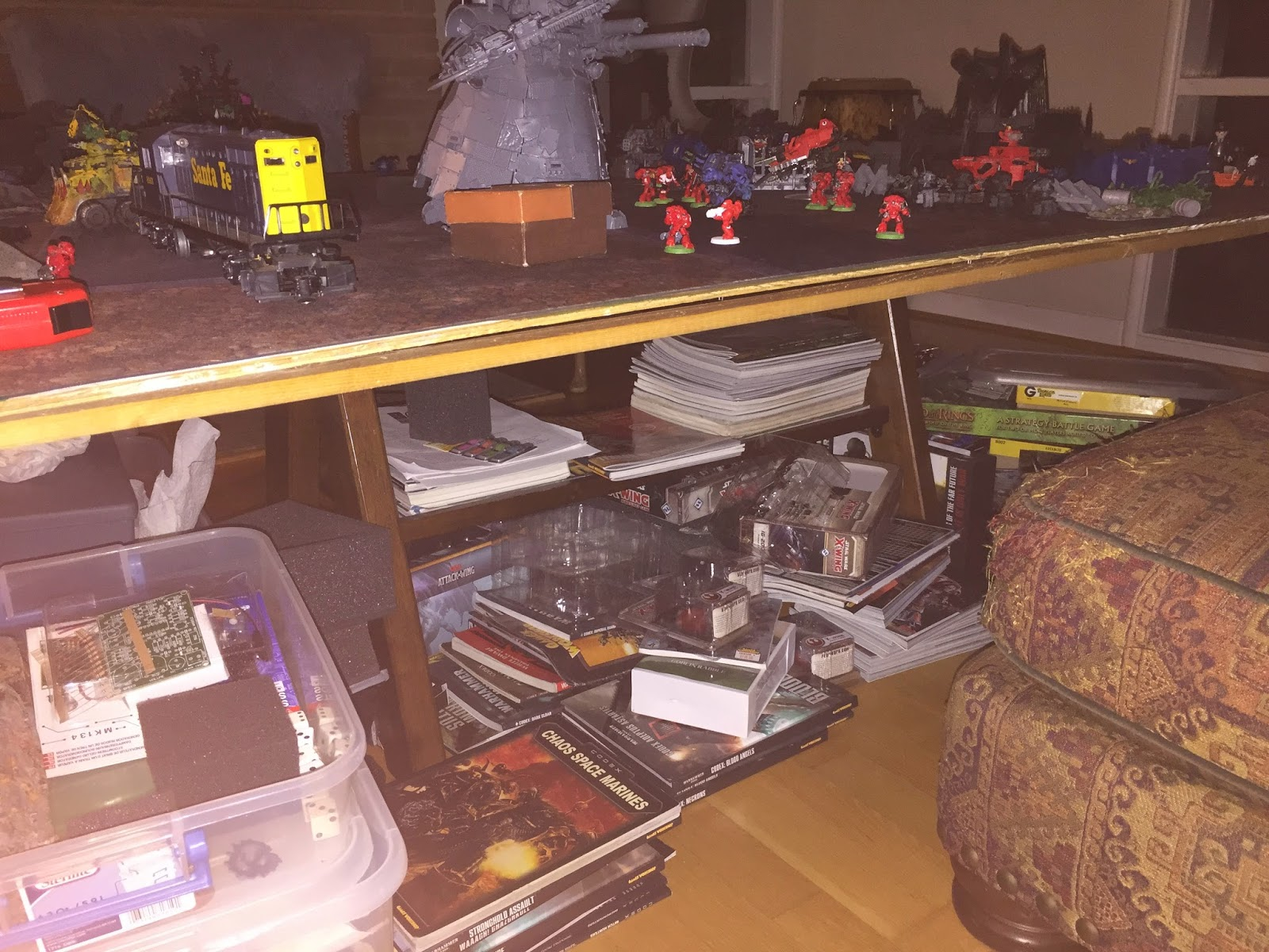 Battle gaming one; gaming table; need for storage; rpg games and storage; warhammer and storage
