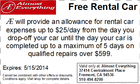 Coupon Almost Everything Free Rental Car April 2014