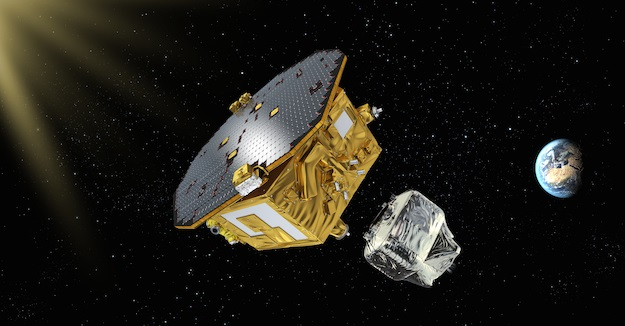 Artist's impression of LISA Pathfinder after separation of the propulsion module. Credit: ESA/C. Carreau