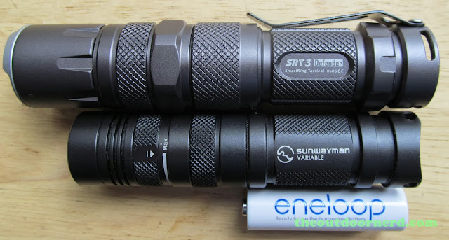 Nitecore SRT3 Defender And Sunwayman V11R With Extenders