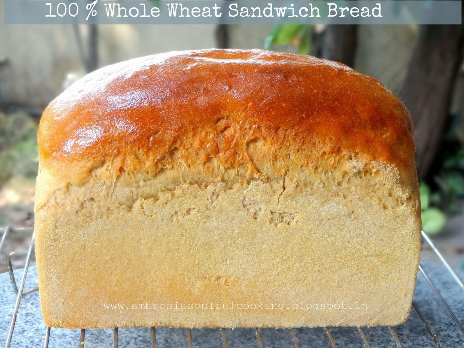 whole wheat sandwich bread | atta bread | 100 % whole wheat sandwich bread