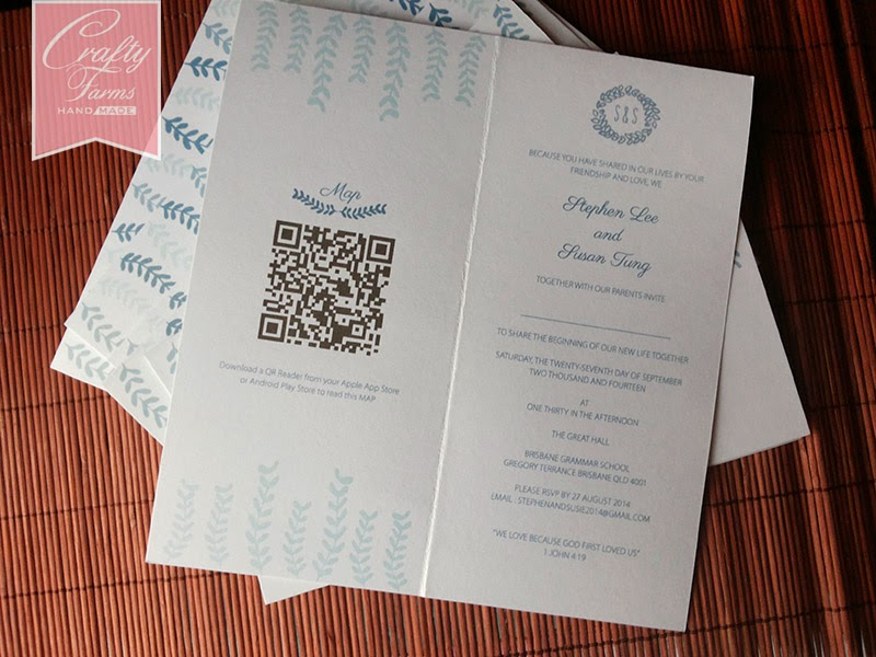 Wedding invitation card with QR code, floral, side fold, one fold, classic, minimalist, cheap wedding card, kad kahwin murah