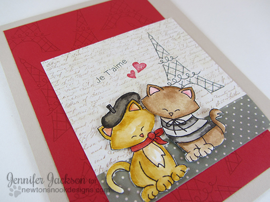 Je T'aime Kitties in Paris Card by Jennifer Jackson | Newton Dreams of Paris Stamp set by Newton's Nook Designs