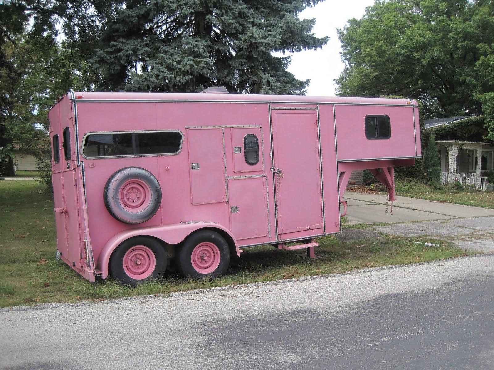 Shabby Pink World Pink Horse Trailer