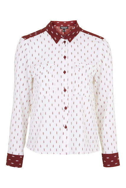 white arrow print shirt, topshop arrow shirt, red arrow shirt,