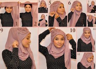cara memakai kerudung hijab modern