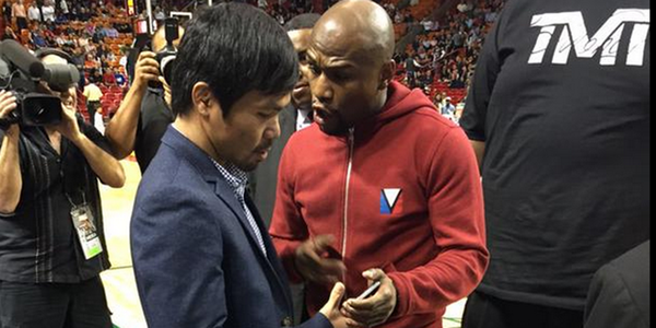 Manny & Money face to face at a Miami Heat basketball game on Tuesday Jan 27~