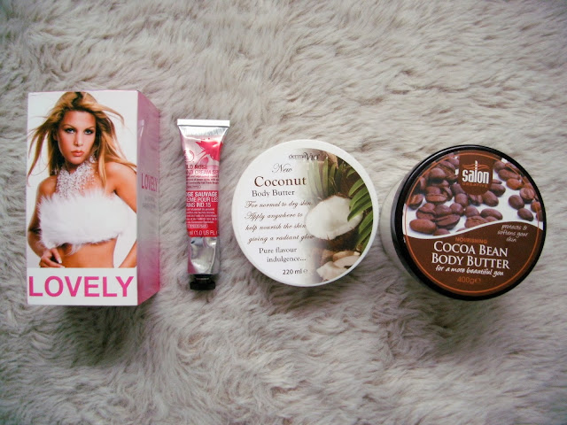 Body Products ( Lovely Perfume, Body Shop Rose Hand Cream, Derma V10 Coconut Body Butter and Salon Creative Cocoa Bean Body Butter).