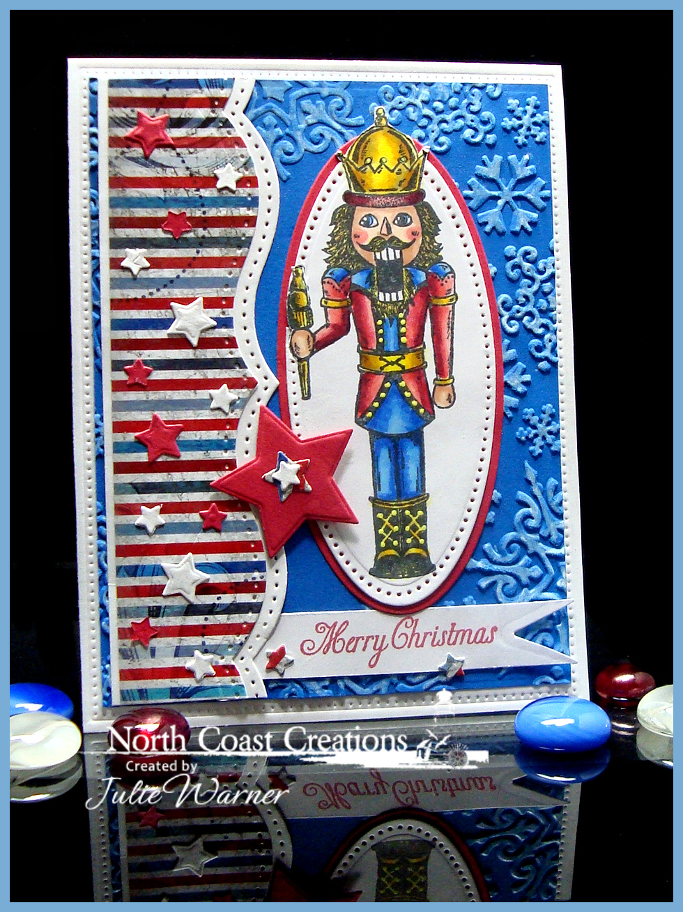 Stamps - North Coast Creations Nutcracker, Old Fashioned Santa, ODBD Patriotic Paper Collection, ODBD Custom Sparkling Stars Dies, ODBD Custom Pennants Die, ODBD Custom Flourished Star Pattern Die