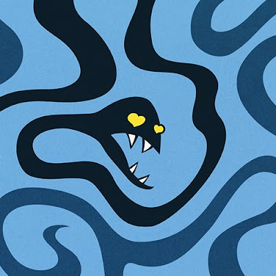 Evil snakes resembling tentacles on blue background