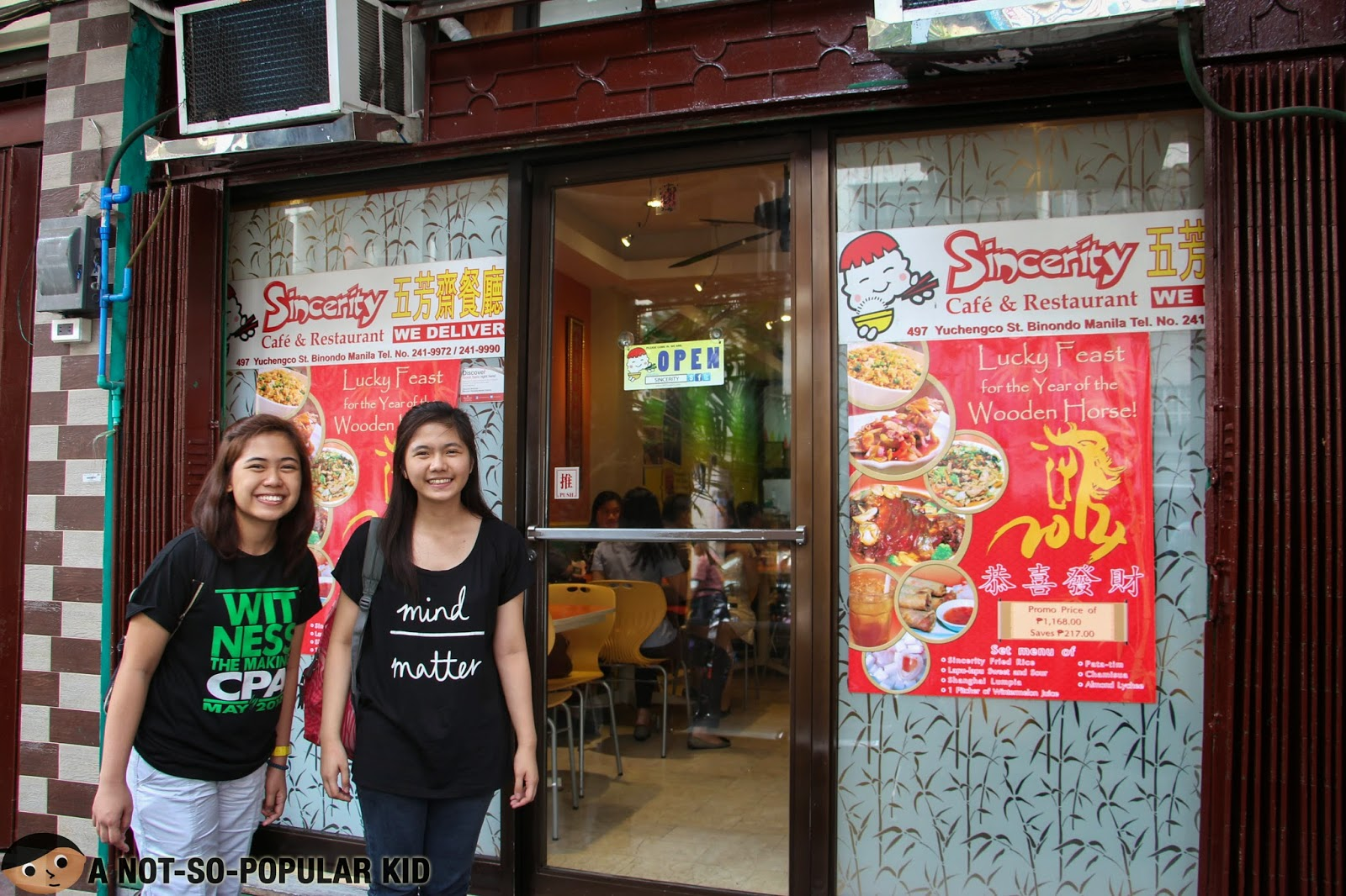 Outside Sincerity Cafe and Restaurant in Binondo