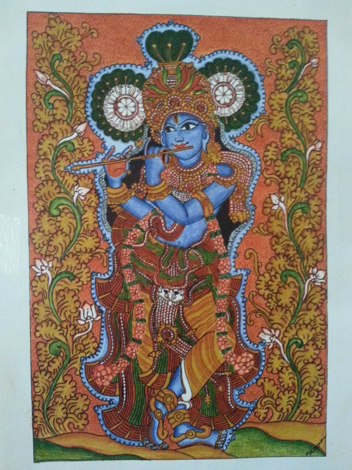 Kerala mural painting lord krishna mural painting for Buy kerala mural paintings online