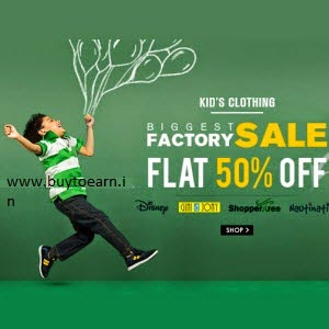 Baby & Kids clothings at minimum 50% off to 70% off from Rs. 51