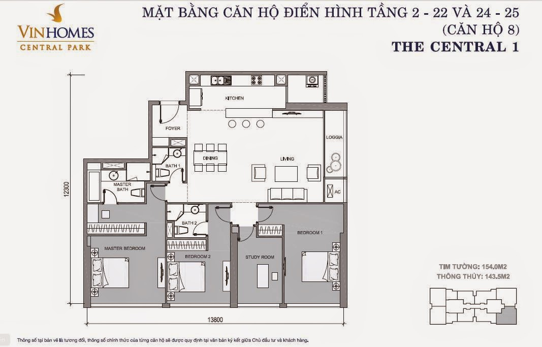 Mặt bằng căn hộ Vinhomes Central Park số 8 tầng 2 - 22 và 24 - 25