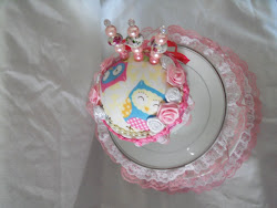 Top View of the the Pink Owl Little Girls Lazy Susan