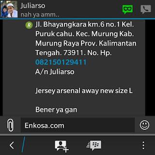 Konfirmasi alamat lengkap dan detail pesanan jersey Juliarso oleh enkosa sport