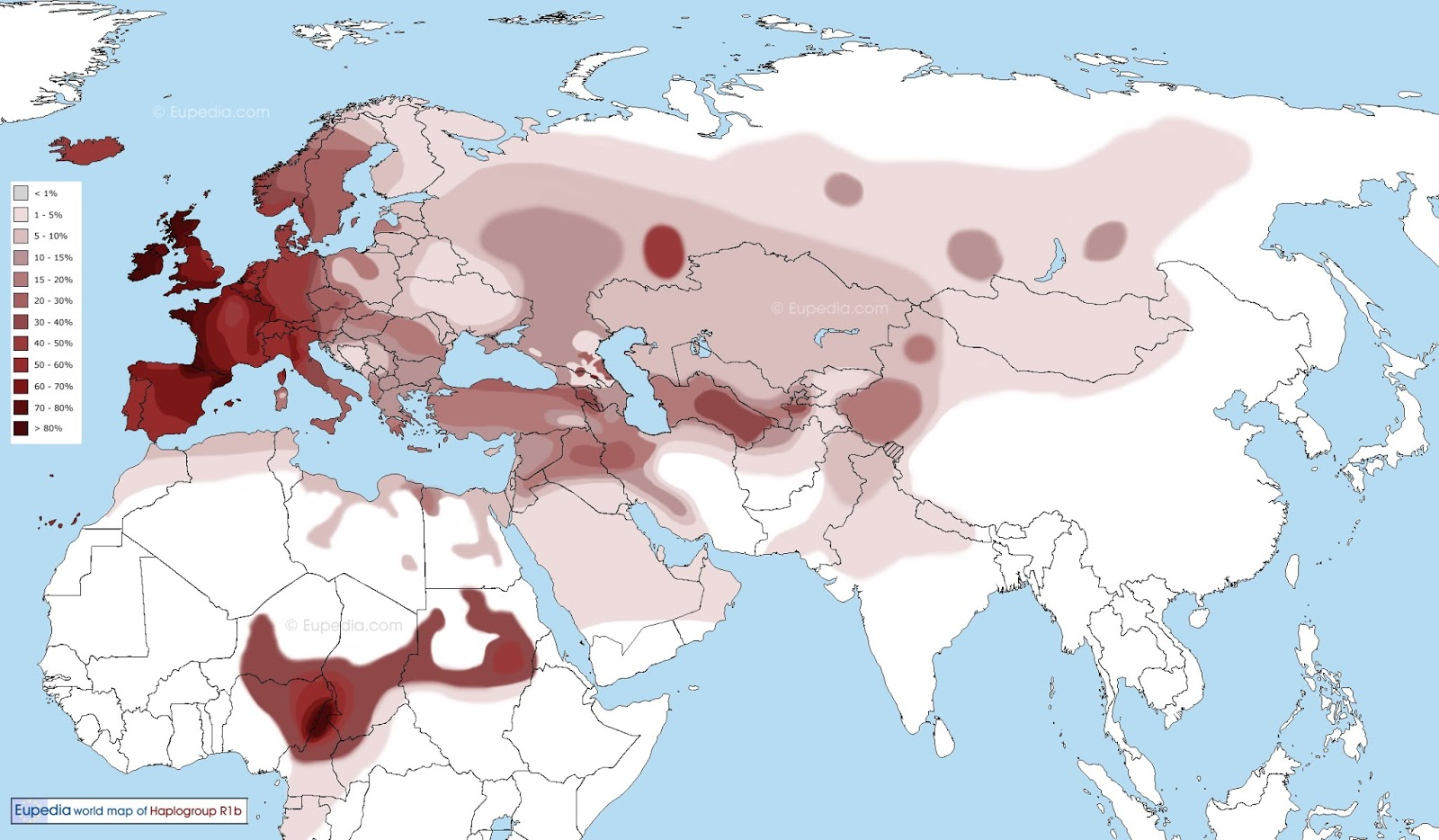 Haplogroup R1b across the World