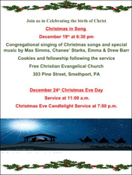 12-19/24 Free Christian Evangelical Church, Smethport, PA