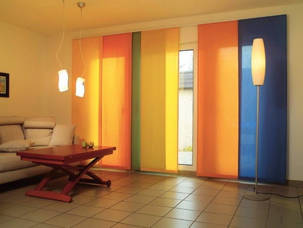 Japanese Curtains For Living Room In Orange Blue Green Color Combination