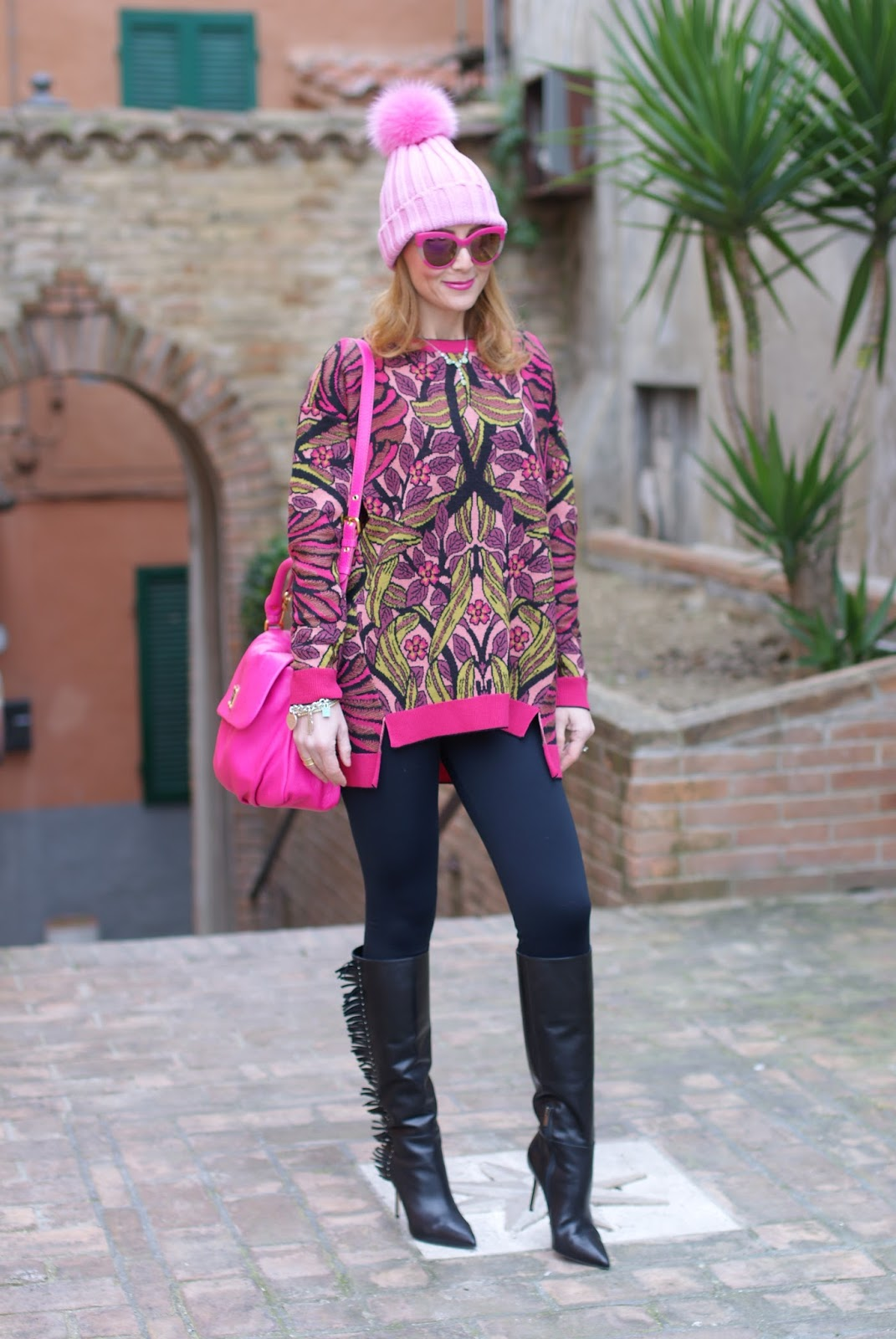 Pink beanie with furry pom-pon and fringed boots, Max Mara ascoli sweater on Fashion and Cookies fashion blog, fashion blogger style