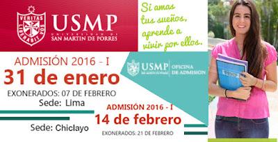 examen de admisión USMP 2016-I