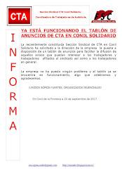 YA ESTÁ FUNCIONANDO EL TABLÓN DE ANUNCIOS DE CTA EN CONIL SOLIDARIO