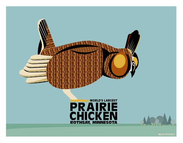 World's Largest Prairie Chicken Rothsay Minnesota - MN Roadside Attraction Travel Poster