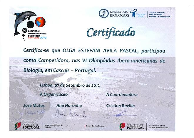 CERTIFICADO OFICIAL DE LA VI OLIMPIADA IBERO-AMERICANA DE BIOLOGIA OIAB CASCAIS PORTUGAL.
