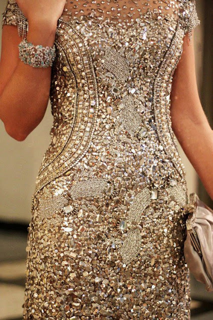 Shinning golden beads dress design for ladies
